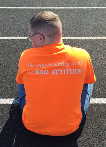 Luis Rivera sporting one of his favorite shirts out on the track
