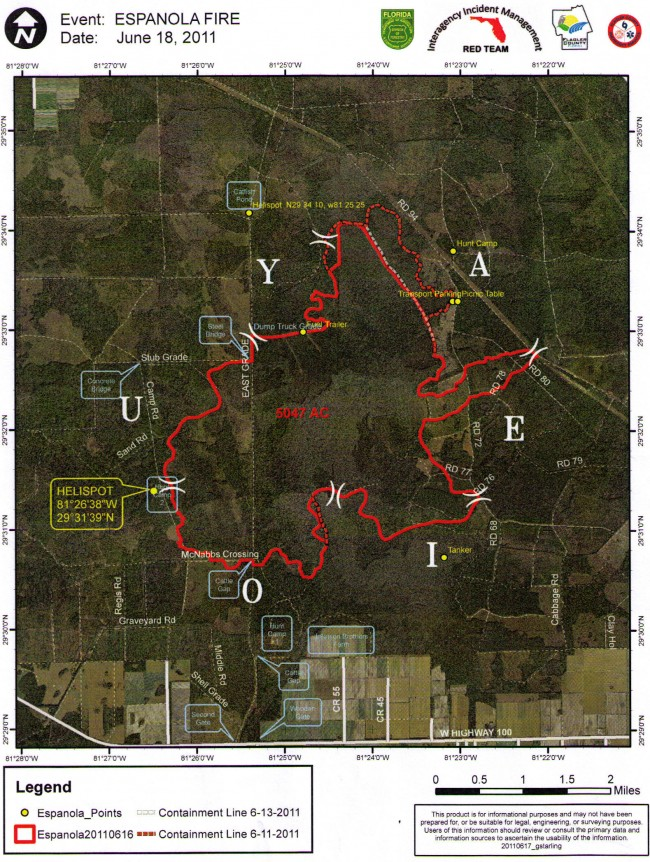 espanola fire flagler county map june 18 fire lines