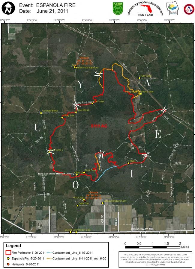 Espanola fire as of June 21, 2011