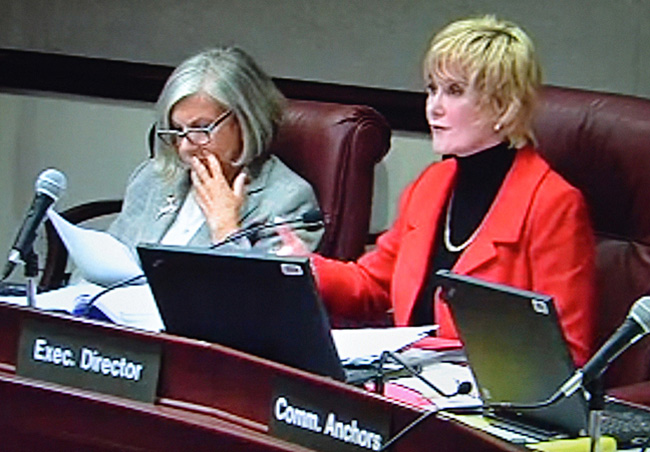 Virlindia Doss, right, the executive director of the Florida Commission on Ethics, and