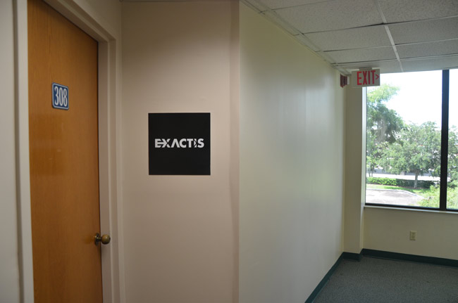 Exactis's nondescript office in the Katz building on Florida Park Drive in Palm Coast. (© FlaglerLive)