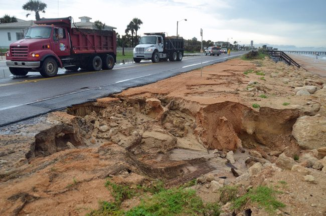 What Flagler Beach wants to stop. That was last week's washout at the south end of town.  (© FlaglerLive)