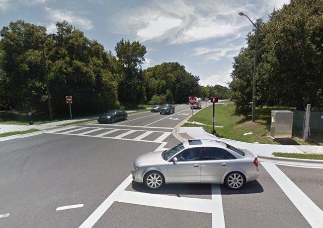 Beverly Campbell had stopped her van in what would be the middle lane of Palm Coast Parkway, to the left of the left-turning lane for Florida Park Drive. (Google)