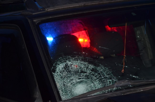 The impact of the victim's head on the windshield. Click on the image for larger view. (© FlaglerLive)