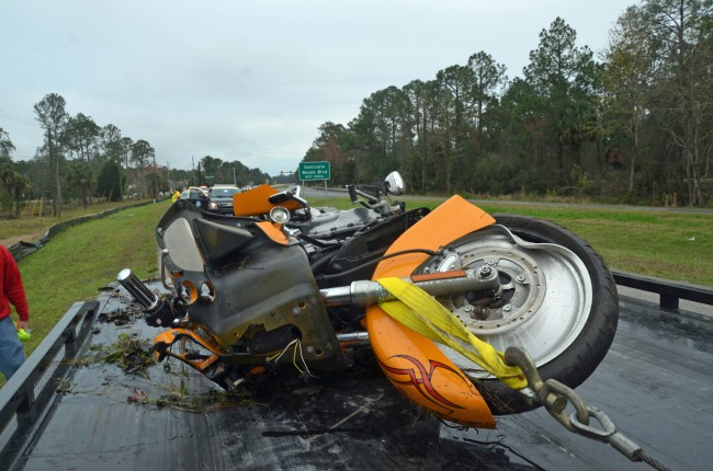 The motorcyclist was riding a Harley north on U.S. 1. The wreck was not discovered for several hours. Click on the image for larger view. (© FlaglerLive)