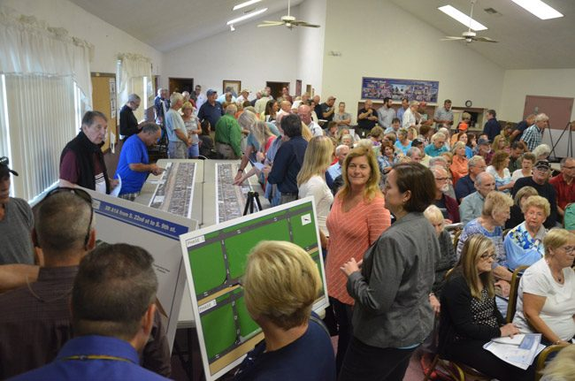 Some 150 people turned out Thursday evening  to hear the transportation department's unveiling of the road reconstruction project for the south portion of State Road A1A. (© FlaglerLive)