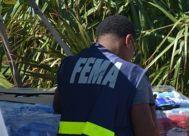 A FEMA agent in Flagler in late September. (© FlaglerLive)