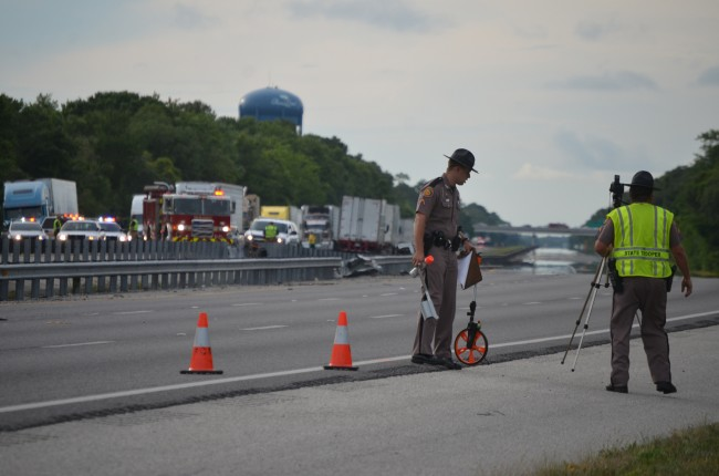 FHP investigators in the southbound lanes. (c FlaglerLive)