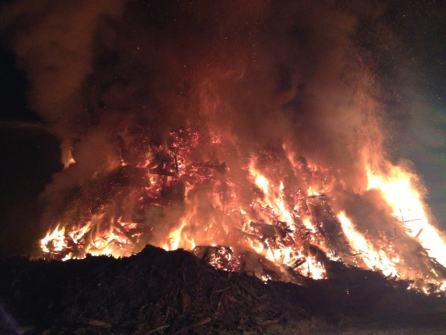 'The picture doesn't do it justice,' Flagler County Fire Chief Don petito said of an image of the pile fire released by the county Tuesday, as he described the flames rising to 70 feet and sprawling over a much larger mass of debris.