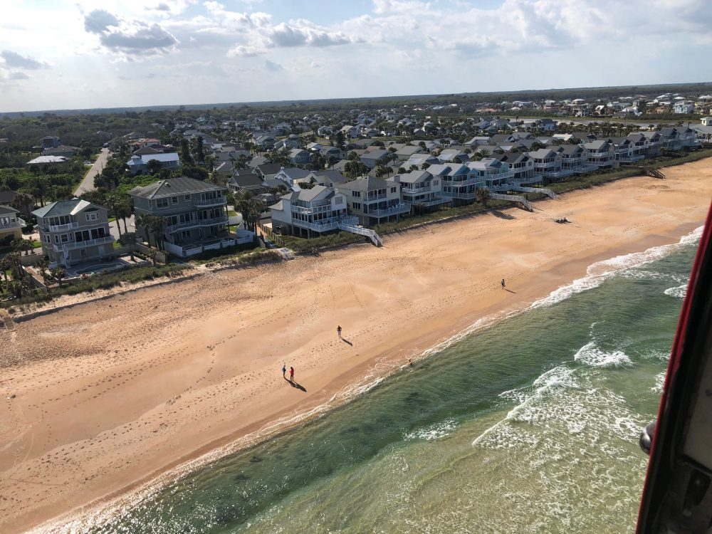 A few people defying the order to stay off Flagler's beaches, at the north end of the county, Wednesday afternoon. The county's Fire Flight emergency helicopter took the pictures.