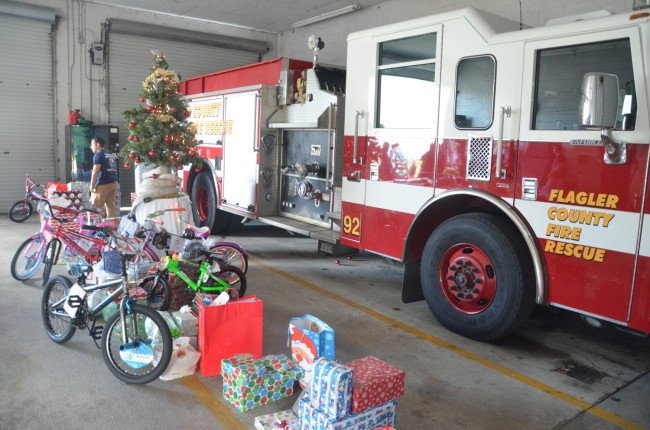 The presents immediately before the engine went out on a fire call. Click on the image for larger view. (© FlaglerLive)