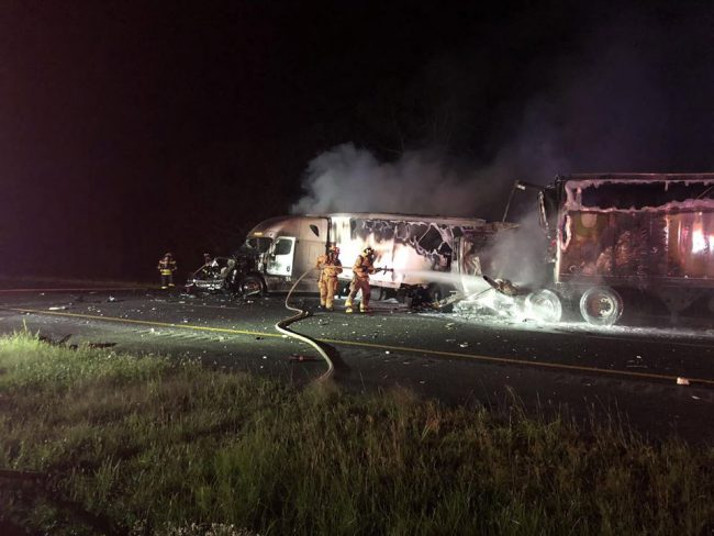 The semi fire. (Flagler County Professional Firefighters)