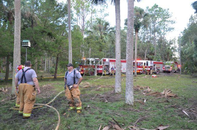 Firefighters' work wasn;t done: there was the matter of getting all their engines out of the bog. Click on the image for larger view. (c FlaglerLive)