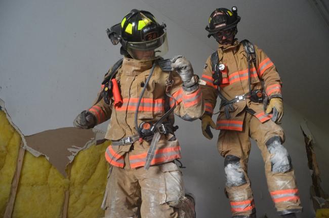 firefighter training. wall breach