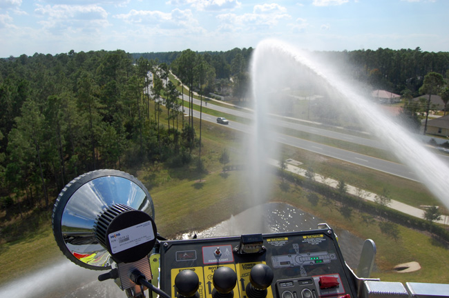 It's been like hosing in the wind: the Palm Coast firefighters union and the city administration reached an impasse after more than three years of negotiations over a contract. (© FlaglerLive)