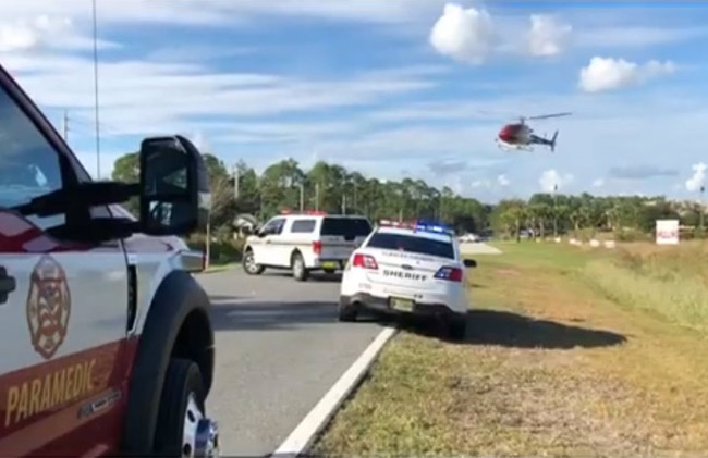 Fire Flight, Flagler County's emergency helicopter, coming in for a landing at 3 p.m. this afternoon just south of the Town Center Publix. (Flagler County Professional Firefighters)