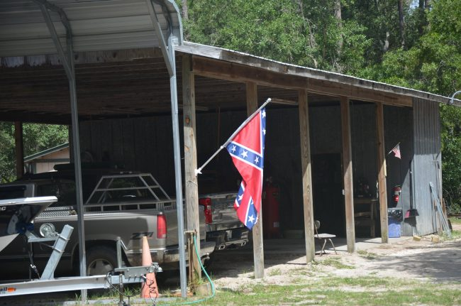 The flag as it hung at the barn this morning. (© FlaglerLive)