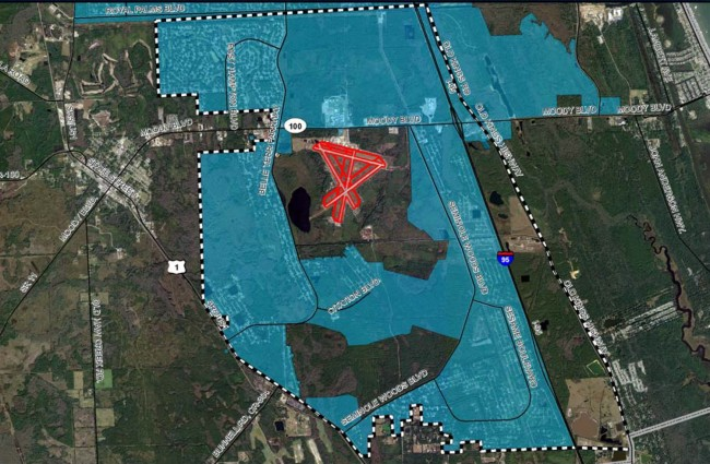 Flagler County Airport is surrounded by Palm Coast. An agreement four years in the making would resolve any issues related to the two governments' inter-dependence. Click on the image for larger view.
