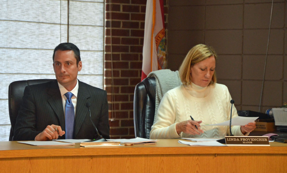 Flagler Beach Commissioner Eric Cooley, seen here at the beginning of his first term, will run for a second term. Mayor Linda Provencher, after two terms as commissioner and three as mayor, is stepping down at the end of her third term in march. (© FlaglerLive)