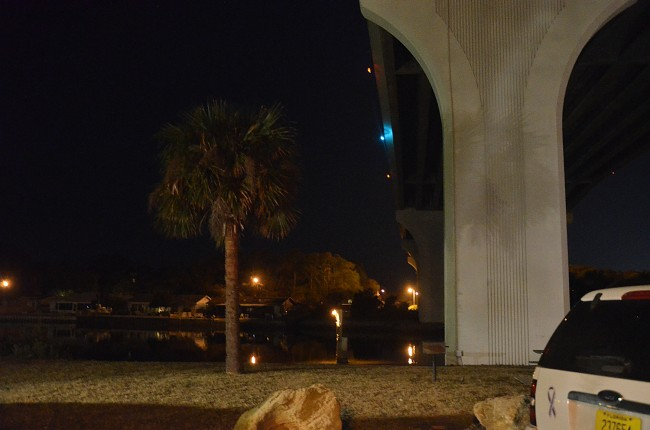 The man jumped off the south side of the Flagler Beach bridge. Click on the image for larger view. (© FlaglerLive)