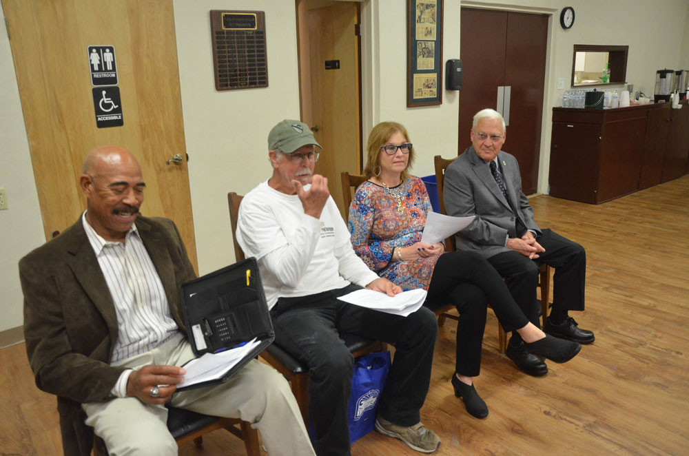 The four candidates for Flagler Beach City Commission, from left: Ken Bryan, Paul Harrington, Deborah Phillips, and Marshall Shupe. (© FlaglerLive)