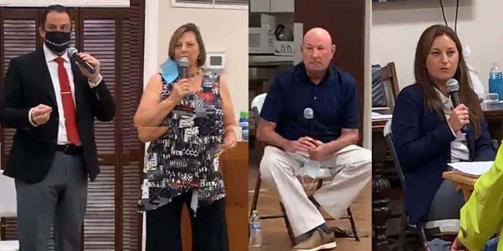The candidates in stills from the Facebook Live clips of the Woman's Club forum last Tuesday evening. From left, Eric Cooley, Kim Carney, Pat Quinn and Suzy Johnston. (© FlaglerLive via Woman's Club video)