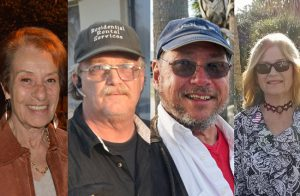 The Flagler Beach March 5 election has drawn two incumbents: from left, Jane Mealy and Rick Belhumeur, second-time challenger Paul Eik, and newcomer Deborah Phillips, a business owner in town. (© FlaglerLive except for Phillips's picture, provided by Phillips)