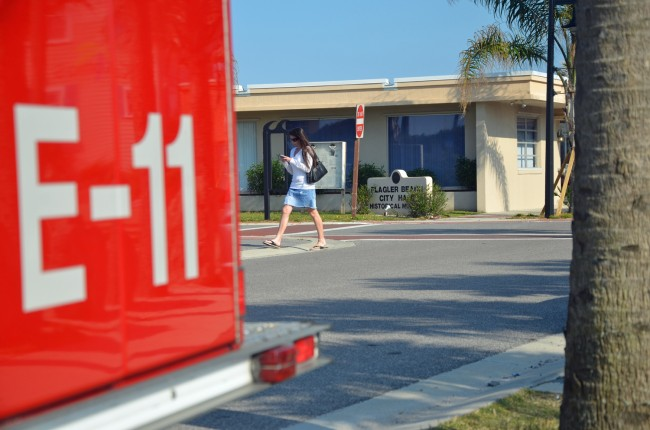 Its viability and future questioned by a commissioner, the Flagler Beach Fire Department brought ut its troops for Thursday's meeting of the Flagler Beach City Commission. (c FlaglerLive)