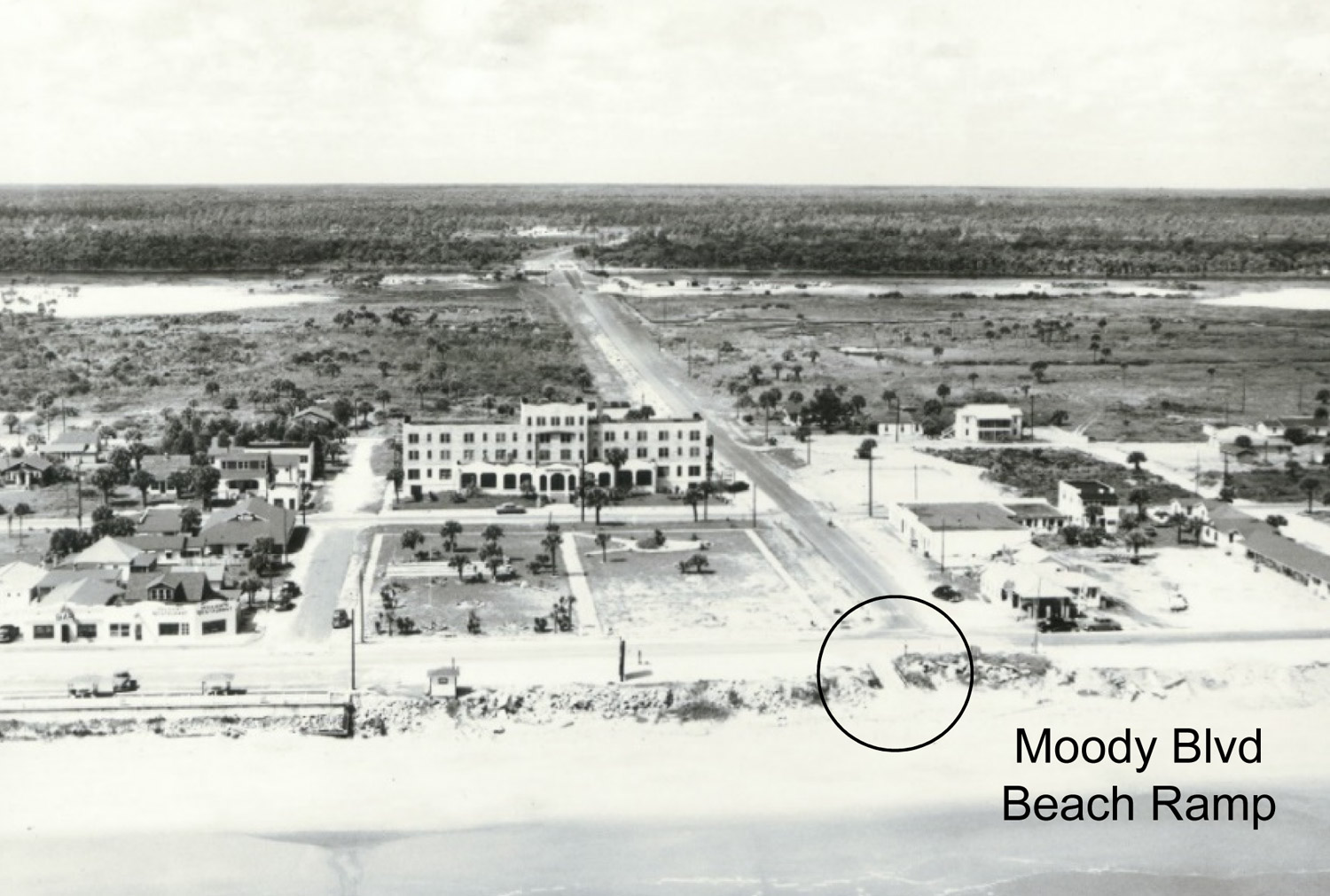 One of the illustrations used during a presentation on the public's customary use of Flagler's beach-front shows the old Flagler Beach Hotel, which opened in 1926, and the Moody Boulevard beach ramp granting public access to the beach. Click on the image for larger view.
