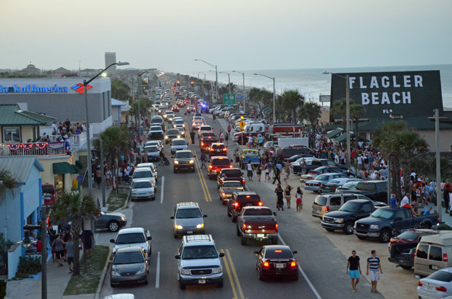 Flagler Beach sees dollar signs in every car. (© FlaglerLive)