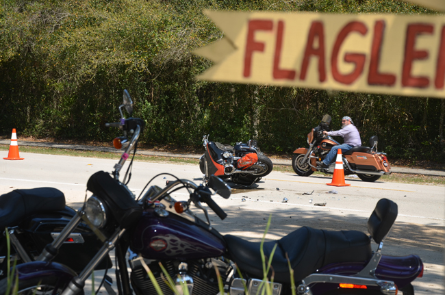 Authorities are cautioning drivers about Biketoberfest, which began this weekend, as riders fill roads in Flagler County. Last year, Biketoberfest and sprting's Bike Week resulted in near-daily wrecks like the one above, on State Road A1A. (© FlaglerLive)
