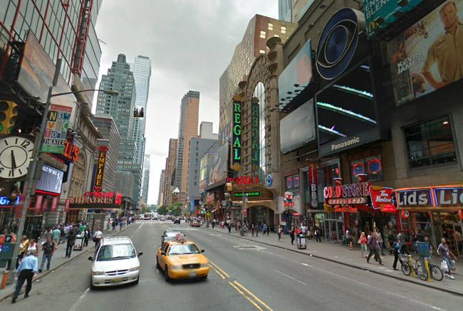Flagler's recurring 10-second spot will be appearing on the Panasonic electronic billboard to the right,. below the CBS sign. It is on West 42nd Street,  several blocks away from Times Square.