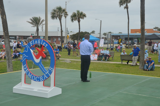 The Rally By the Sea drew fewer people than it had last year on Earth Day, but Flagler Democrats are banking on a blue wave to yield some victories in November. (© FlaglerLive)