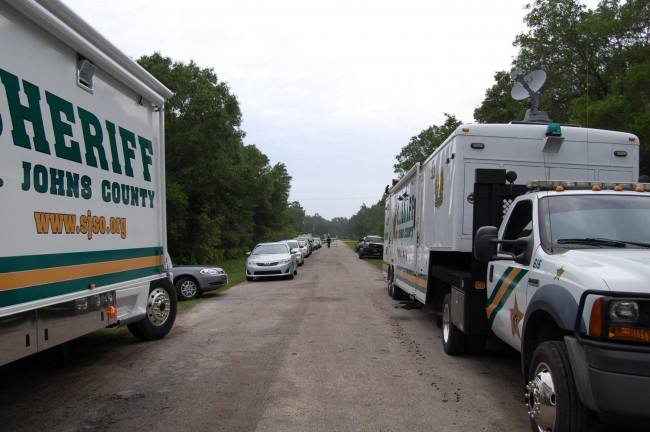 St. Johns County Sheriff's units investigating the murder of Barbara Parchem, whose body was found on the Flagler side of Flagler Estates in late April after she went missing weeks earlier. (St. Johns County Sheriff's Office)