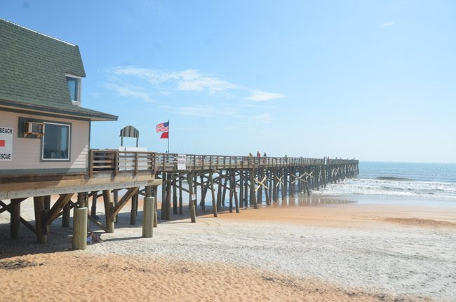 After yet another closure for repairs following Hurricane Irma, the Flagler Beach Pier reopened this week to fishermen and lesser beings. In the words of Rick Belhumeur, one of the city's commissioners, it 'makes it feel like the city is whole again.' (© FlaglerLive)