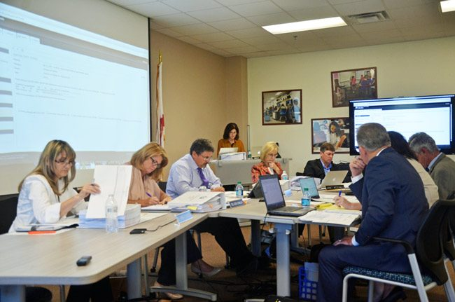 The Flagler County School Board, seen here in a recent workshop, has been apprehensive about new education laws about to kick in. (© FlaglerLive)