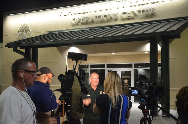 Flagler County Sheriff Rick Staly, clearly relieved, getting set to speak with reporters outside the Sheriff's Operations Center late this evening. (© FlaglerLive)