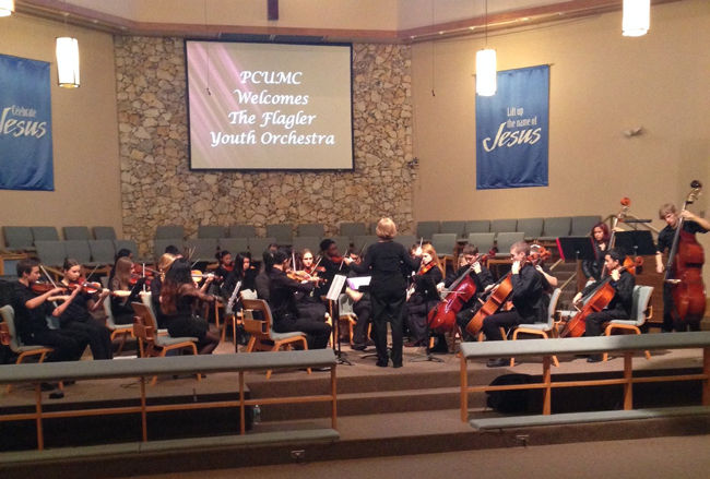 The Flagler Youth Orchestra's Harmony ensemble was in concert at the Methodist church earlier this year, and will appear again Sunday. (© FlaglerLive)