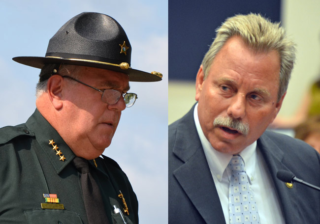 Flagler County Sheriff Don Fleming, left, opened political vulnerabilities by placing himself in the Jamesine Fischer case--vulnerabilities State Attorney Larizza wants to avoid during an election year. (© FlaglerLive)