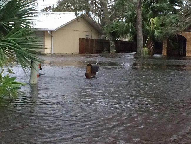Flooding is severe on South Flagler Avenue in Flagler Beach. (c FlaglerLive)