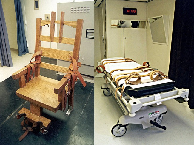 Florida's instruments of state-sanctioned death: the electric chair and the lethal injection gurney, at the state prison in Starke. Click on the image for larger view. (Department of Corrections)
