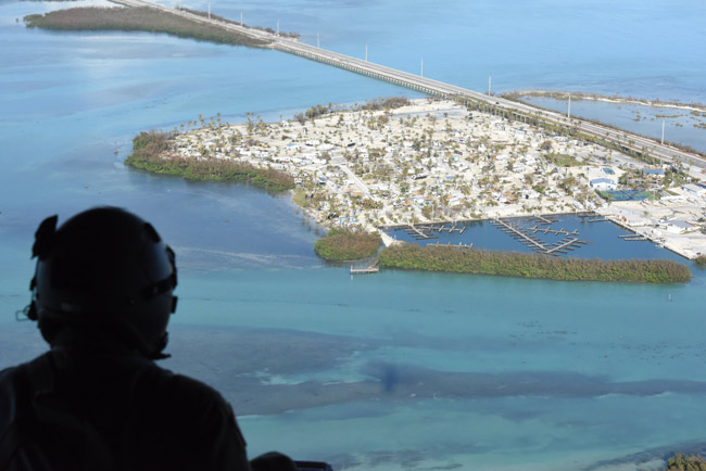 Above the Florida Keys after Hurricane Irma. (Arkansas National Guard)