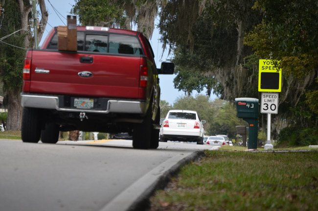 Traffic on Florida Park Drive has been a chronic issue for Palm Coast council members, with proposals that have gone nowhere many times over. Council members want a change. (© FlaglerLive)