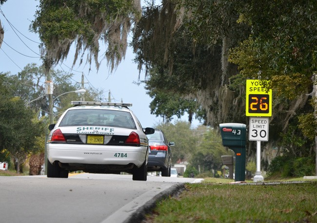Beyond increasing speed limit enforcement on Florida Park Drive, Palm Coast officials say other proposals to reduce traffic merely transfer it without resolving the problem. (© FlaglerLive)