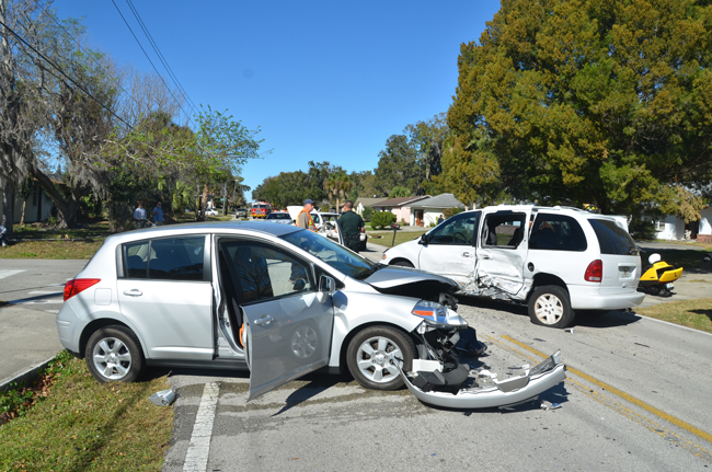 The Nissan Versa was the most damaged  of three vehicles in an afternoon wreck on Florida Park Drive Thursday. (c FlaglerLive)
