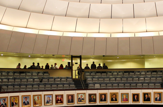 The visitors' gallery at the Florida Senate. Some people are watching. (Second Judicial Circuit)