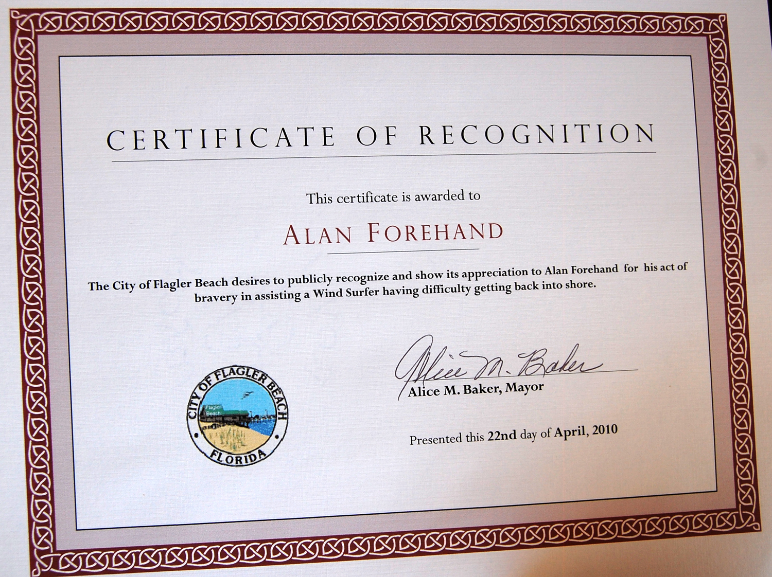 Alan Forehand Certificate from Flagler Beach