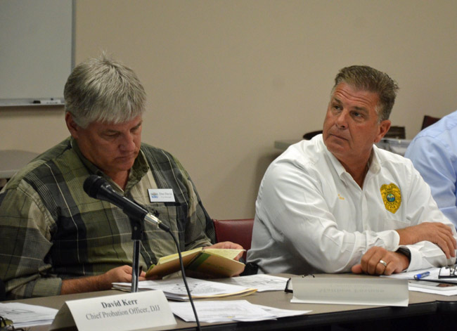 Bunnell Police Chief Tom Foster, right, takes over as acting manager for Dan Davis, left, who was fired earlier this week, as the city commission prepares to hire what will be its third manager in five years. (© FlaglerLive)