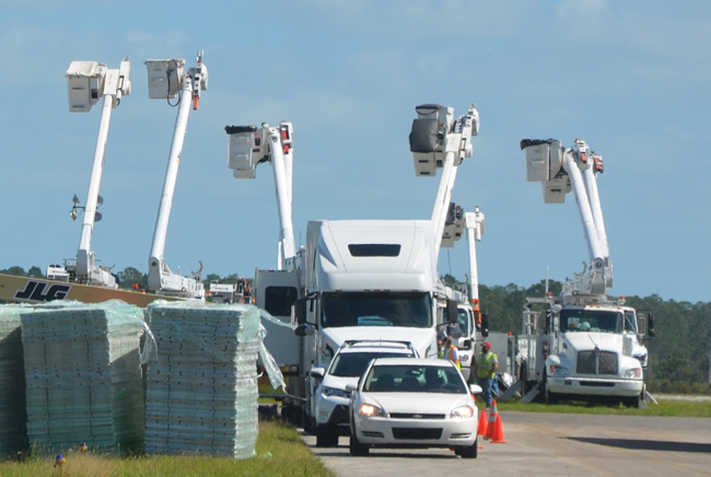What you did not see in Flagler this year: FPL's staging area at the Flagler County Airport last year, after Hurricane Matthew, when FPL's operation transformed a large section of airport grounds into a small city for line workers. There was no such staging ground in Flagler this time. (c FlaglerLive)