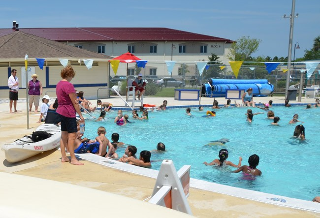 Frieda Zamba pool opened for the summer season this week. It's one of many activity hubs for children in Palm Coast this summer. (© FlaglerLive)